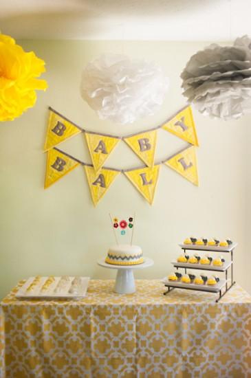 Yellow Grey and White Baby Shower