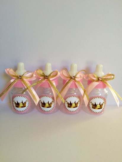 princess themed baby shower favor bottles with labels