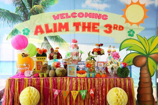 Hawaiian Luau Baby Shower Theme dessert table