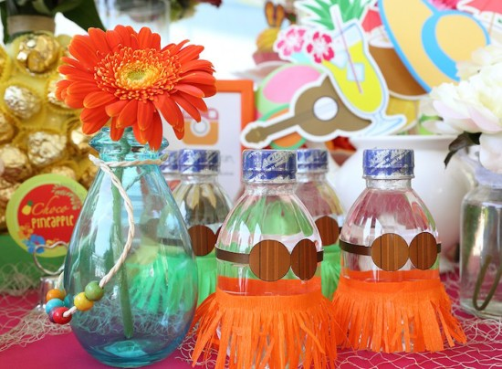Hawaiian Luau Baby Shower Theme drink bottle decors