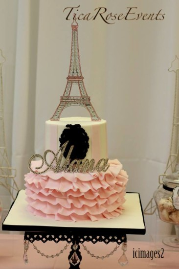 Ohh Lala It's a Girl Paris Baby Shower cake