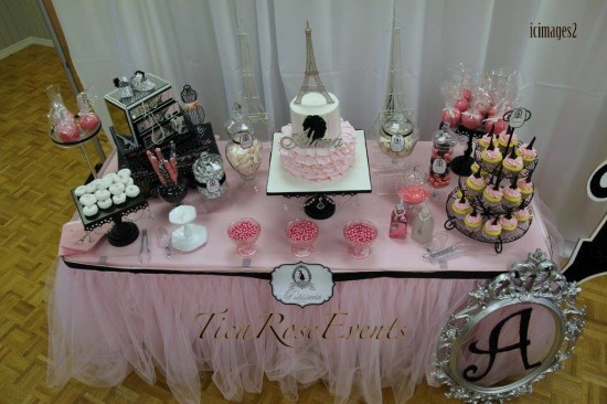 Ohh Lala It's a Girl Paris Baby Shower dessert table overview