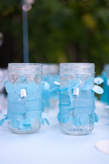 Sweet Baby Shower in Blue drinking jars decoration