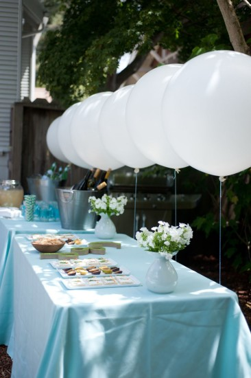 Sweet Baby Shower in Blue food table with white balloons