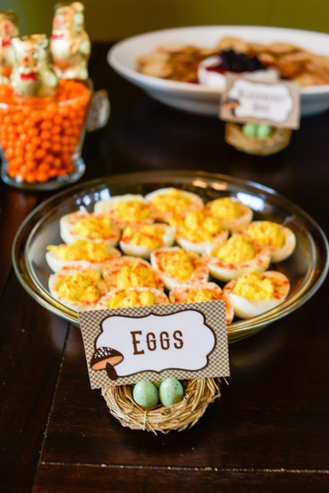 deviled eggs with nest of eggs