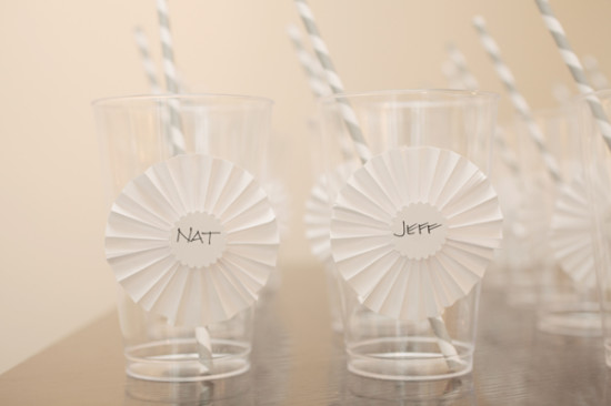 drinking cups decorated with paper flowers