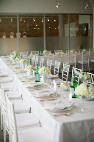 elegant white gold table setting