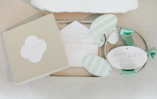 invitation pack white gold mint green