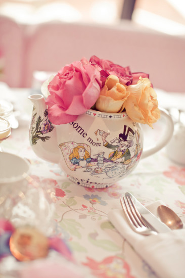 little decoration flowers in a teapot