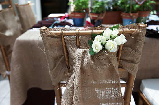 pretty burlap covered chair