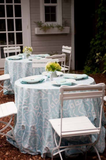 table setting in baby blue
