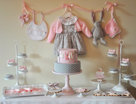 Pink Gray Baby Shower