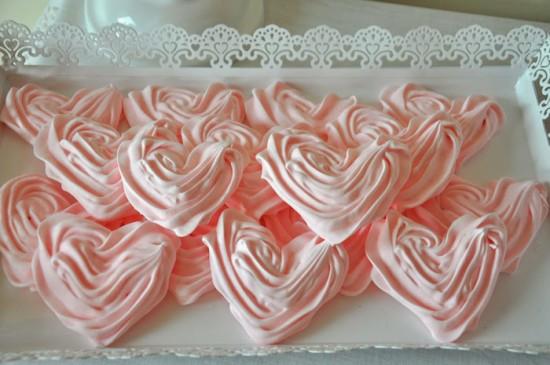 pink heart meringue