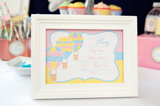 Colorful Hot Air Balloon Baby Shower signage