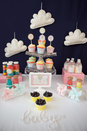 Colorful Hot Air Balloon Baby Shower desser table