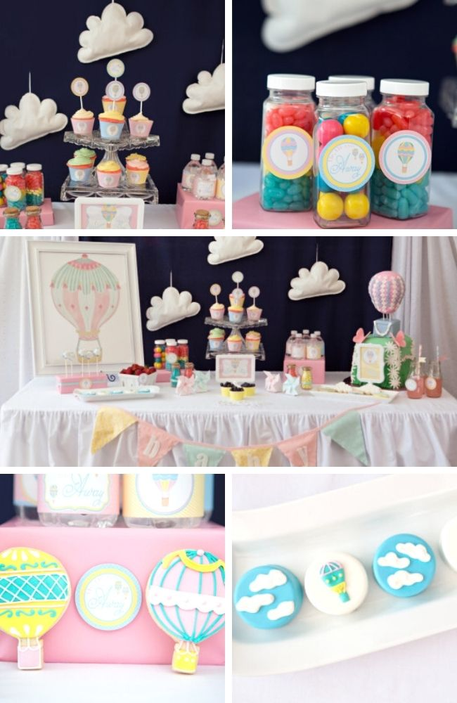 Colorful Hot Air Balloon Baby Shower tablescape