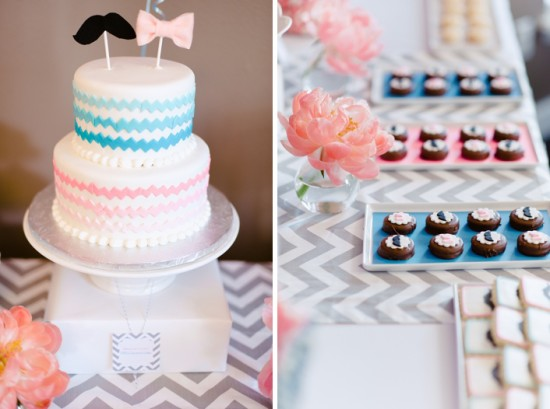 Pink & Blue Gender Reveal Baby Shower Decoration Ideas Mustache or Bow tie