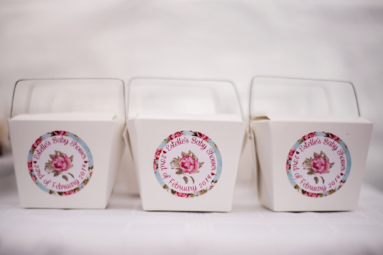Shabby Chic Floral Baby Shower boxes with labels