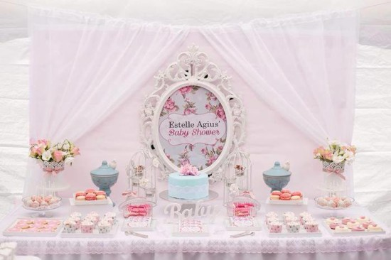 Shabby Chic Floral Baby Shower dessert table