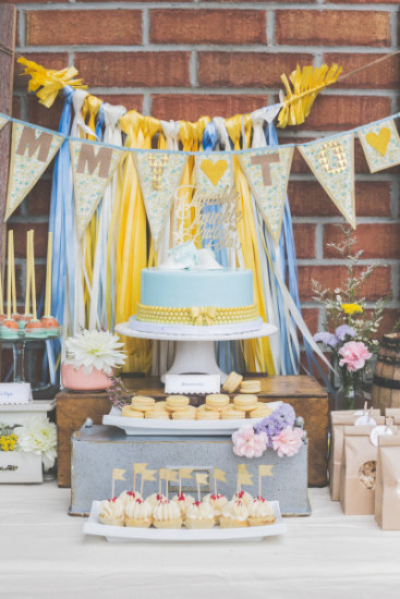 Whimsical Winnie the Pooh Baby Shower dessert table
