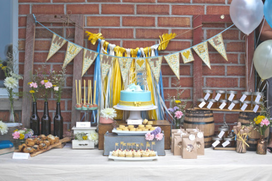dessert table for Whimsical Winnie the Pooh Baby Shower