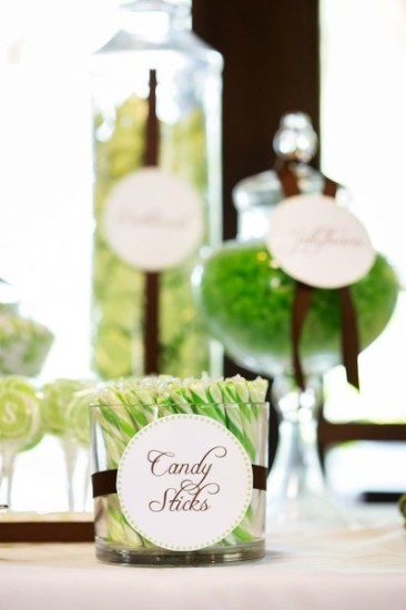Gender Reveal Party in Green & White candy buffet