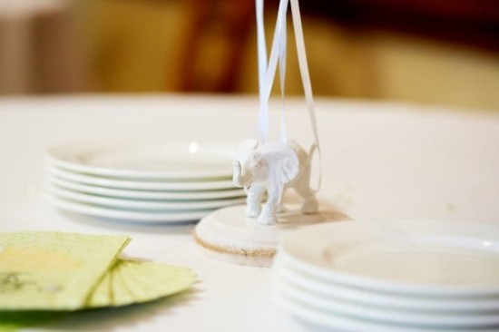 Gender Reveal Party in Green & White table setting