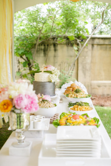 Outdoor Co-ed Baby Shower food table