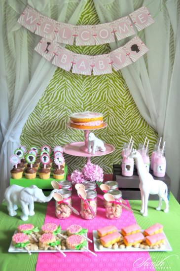 Pink & Green Safari Baby Shower