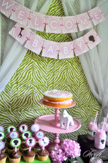 Pink & Green Safari Baby Shower banner