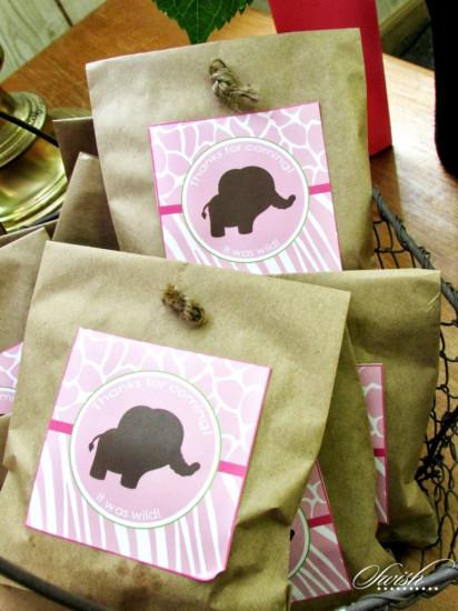 Pink & Green Safari Baby Shower favors