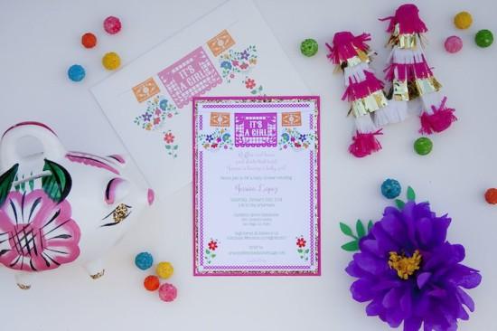 colorful Festive Mexican Baby Shower dessert invitation