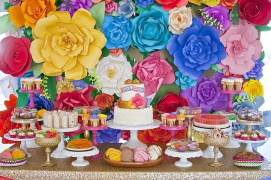 colorful Festive Mexican Baby Shower dessert table full of goodies