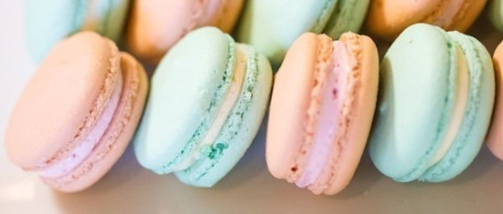 pink green macarons closeup