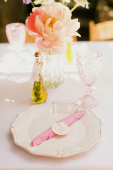 shabby chic outdoor garden baby shower ideas elegant table setting plates notes