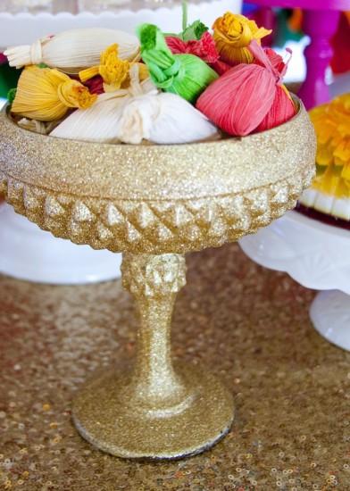 snacks in golden bowl