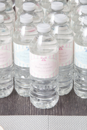 personalized water bottle labels for neutral baby shower