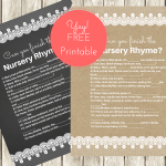 FREE Nursery Rhyme Baby Shower Games
