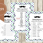 FREE Mustache Baby Shower Games Template