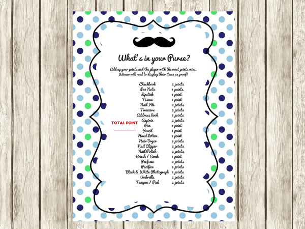 FREE Mustache Baby Shower Games, what's in your purse, celebrity baby names, baby word scramble