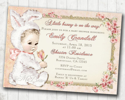 Easter Baby Shower Invitation for Girl Easter Vintage Baby Shower Invitation For Girl - Bunny Easter Baby Shower