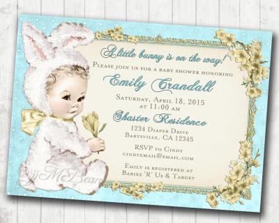 Easter Baby Shower Invitation for boy Easter Vintage Baby Shower Invitation For Boy - Bunny Easter Baby Shower