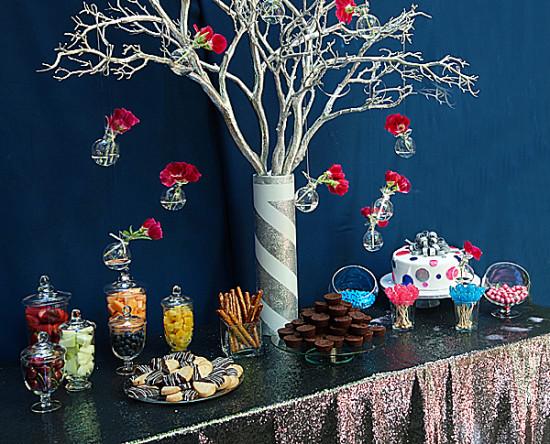 Glam Gender Reveal baby shower dessert table