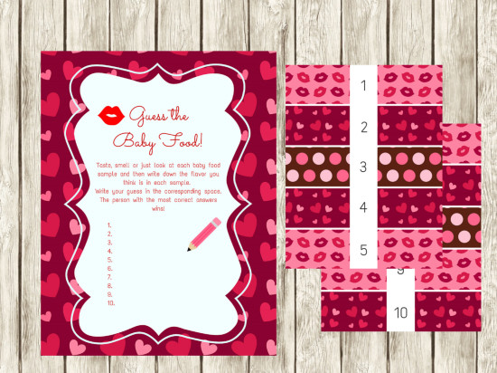 Valentine's Day baby shower games guess the baby food