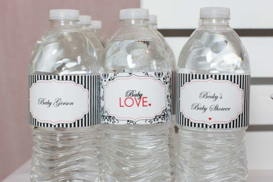 black white stripe water bottle labels