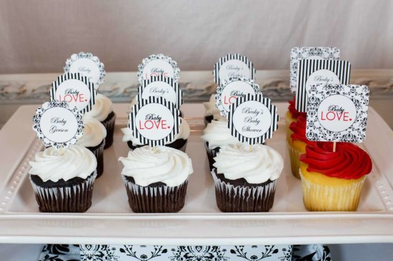 gender-neutral-baby-love-shower-cupcake-damask-black-white-stripes