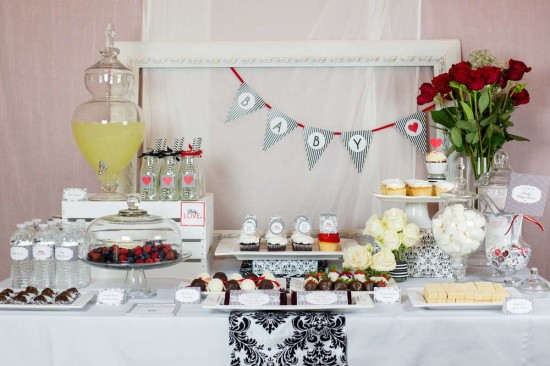 gender-neutral-baby-love-shower-dessert-table-damask-black-white-stripe
