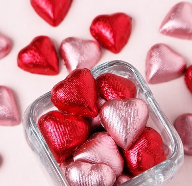 pink and red Metallic Foil Wrapped Hearts