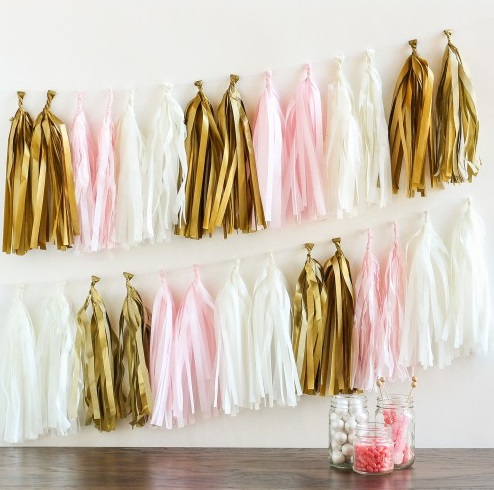 pink gold and white Paper Tassel Garland