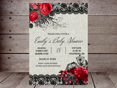 gothic red and black valentine editable invitation